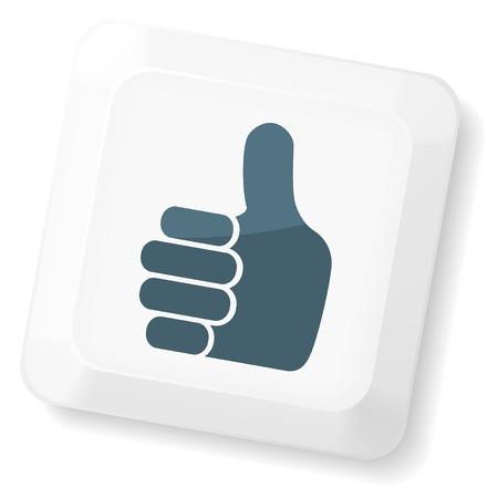 hands on keyboard: Thumb`s up sign on computer key. Vector keyboard collection. Illustration