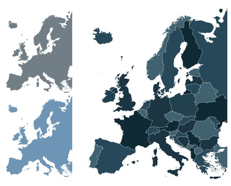 Set of Europe vector highly detailed maps Vector