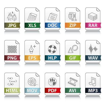 Conjunto de extensión de archivo vectoriales iconos detalladas  Ilustración de vector