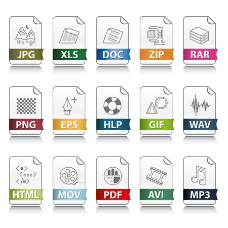 download folder: Set of file extension vector detailed icons