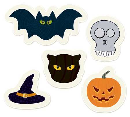 Easy to edit halloween stickers set. Vector stickers collection. Vector
