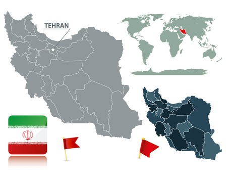 Set of Iran maps, red flag pins and flag icon. Cartography collection. Source: http://www.lib.utexas.edu/maps/ Stock Vector - 7719855