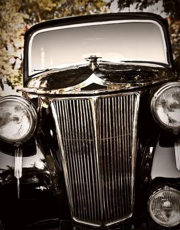 Close up shot of a vintage car photo