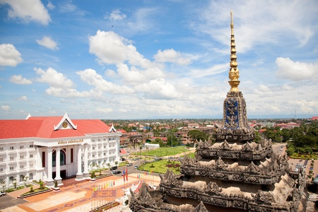 Vientiane, capital of Laos. Beautiful View from Patuxay monument. Stock Photo