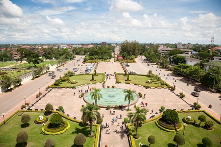 vientiane: Vientiane, capital of Laos. View from Patuxay monument.