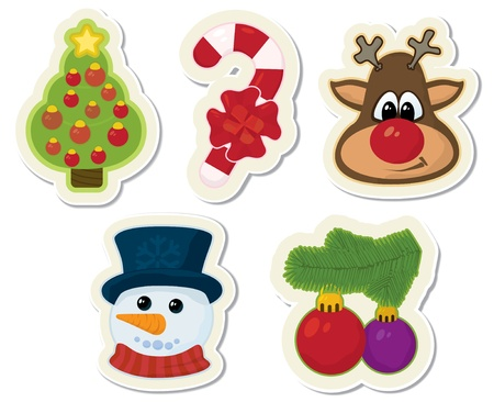 Christmas retro styled stickers photo