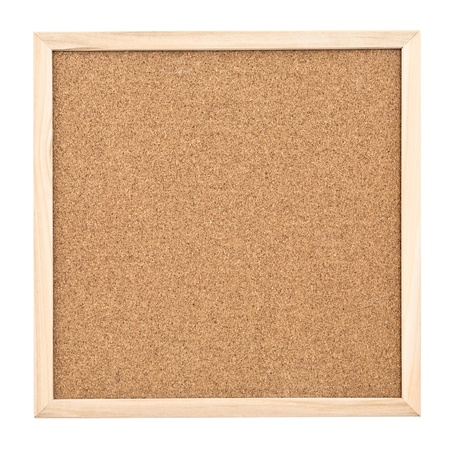Empty cork board isolated on white background photo
