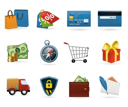 cart cash: Set of highly detailed vector colorful icons.