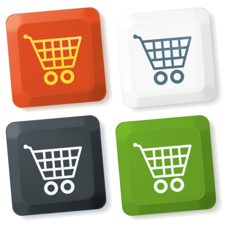cart button: Set of vector color keyboard buttons with shopping cart sign