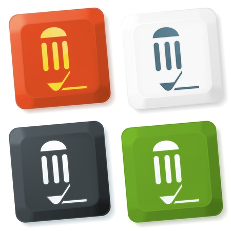 Set of color vector buttons with pencil sign Stock Photo - 9174231