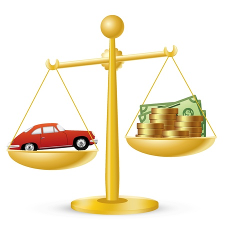 coin stack: Car and money on scales. Car prices concept.