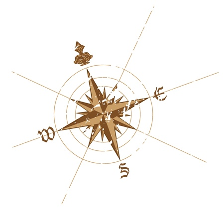 navigational: Vector wind rose compass. Great for any derections on your work. Stock Photo