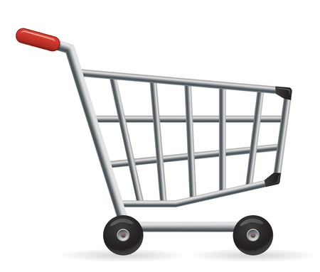 red retail: Vector shopping cart. Great for your online shop.