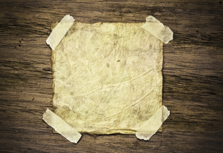 Old paper on wood background photo
