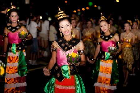 thai dancing: HUA HIN, THAILAND - NOVEMBER 21: Thai traditional dance. Thai people float on water a small rafts (Krathong) to celebrate the Loy Krathong festival. November 21, 2010 in Hua Hin, Thailand.