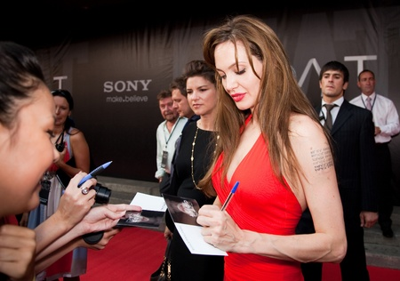 angelina jolie: MOSCOW - JULY 25: Actress Angelina Jolie at the premiere of the movie Salt at the October Cinema. July 25, 2010 in Moscow, Russia.