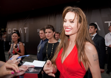 autograph: MOSCOW - JULY 25: Actress Angelina Jolie at the premiere of the movie Salt at the October Cinema. July 25, 2010 in Moscow, Russia.