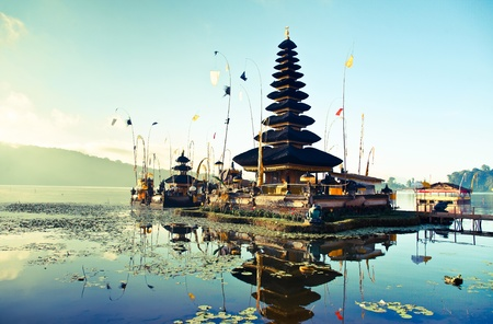 indonesia culture: Bali Pura Ulun Danu Bratan Water Temple decorated for the ceremony