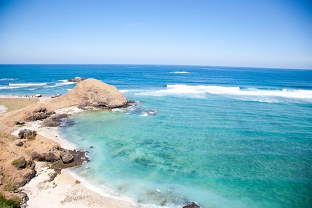 Kuta Beach, Lombok, Indonesia. Paradise place for surfing and relaxing Stock Photo