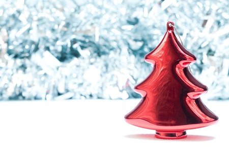 Red Christmas tree decoration background photo