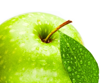 Green apple over white background photo