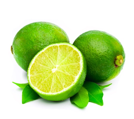 lime green background: Fresh limes over white background