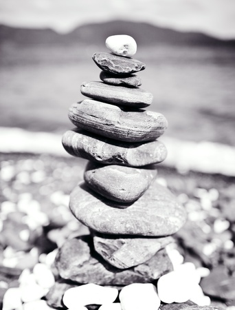 Buddhist harmony symbol. Pebbles tower. photo