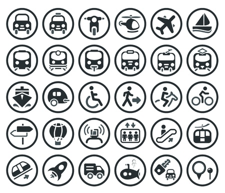 public transportation: Set of transportation icon