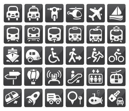 passenger vehicle: Conjunto de icono de vector de transporte Vectores