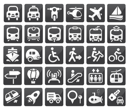 motor transport: Set of vector transport icon