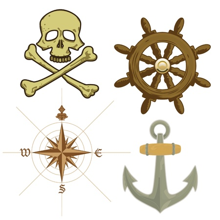 Vector pirate sailing detailed icons photo
