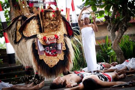 perfomance: BATUBULAN, BALI, INDONESIA- JUNE 23: Barong Dance, the traditional balinese perfomance on June 23, 2011 in Batubulan, Bali, Indonesia.