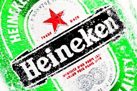 Moscow, Russia, December 3, 2011: A Heineken 0,33l beer can. Heineken beer is brewed by Heineken Brewing Co. Holland.