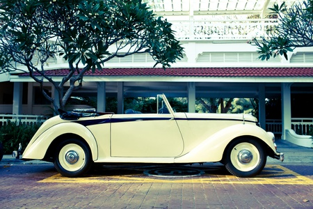 HUA HIN - DECEMBER 17: Mercedes 220 S Cabrio W187 , 1951 year. Retro Car on Vintage Car Parade 2011 at Sofitel Resort on December 17, 2011 in Hua Hin, Thailand.