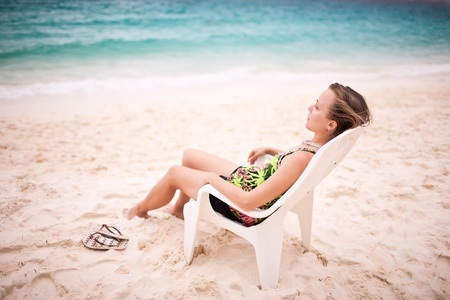 Woman in a chair at the Andaman sea Stock Photo - 12669752