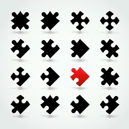 puzzle pieces: All Possible Shapes of Jigsaw Pieces Stock Photo