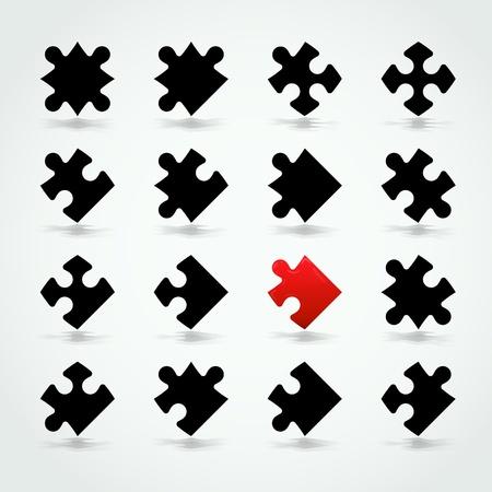 puzzle pieces: Alle m�glichen Formen von Jigsaw Pieces Lizenzfreie Bilder