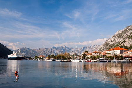 View of Kotor bay and Kotor city, Montenegro, Europe photo