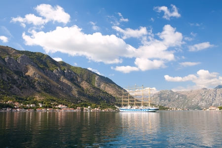 Tall ship in Boka Koroska bay, Montenegro, Europe photo