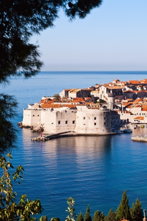 Overlooking city walls of old town of Dubrovnik, Croatia.  Stock Photo
