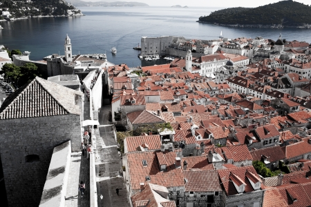 Dubrovnik cityscape from old town walls photo