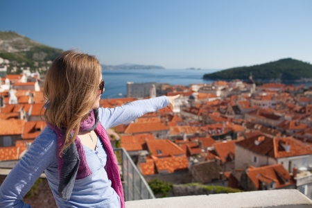 Young woman sightseeing, Dubrovnik, Croatia photo
