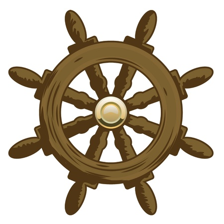 yacht isolated: Wheel Vector Icon  Marine collection  Illustration