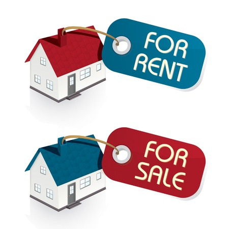 property agent: House for Sale and for Rent Vector Tags Illustration