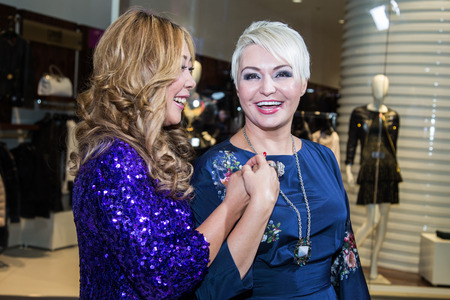 MOSCOW, RUSSIA, September, 20:  Singer Anita Tsoi and Katya Lel. Opening Ru-tv Studio, September, 20, 2014 at Vegas Center in Moscow, Russia