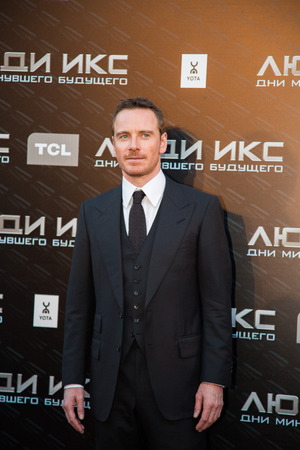 press agent: MOSCOW, RUSSIA, May, 13: Actor Michael Fassbender. Premiere of the movie X-Men, May, 13, 2014 at Rossiya Cinema in Moscow, Russia