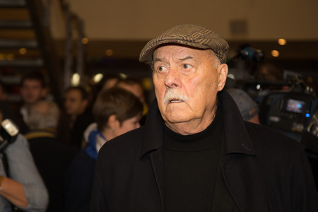sunstroke: MOSCOW - OCTOBER,7 : Director Stanislav Govorukhin. Premiere of the movie Solnechny Udar, October,7 , 2014 at Octyabr Cinema in Moscow, Russia