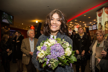sunstroke: MOSCOW - OCTOBER, 7: Actress Marina Solovyeva. Premiere of the movie Solnechny Udar, October, 7, 2014 at Octyabr Cinema in Moscow, Russia Editorial