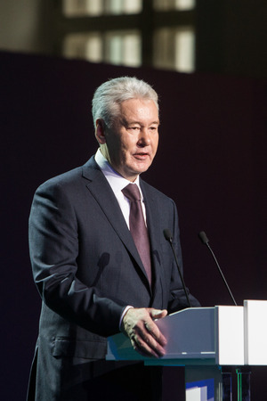 mayor: MOSCOW - OCTOBER 15: Moscow Mayor S. Sobyanin during First Moscow International Forum - Culture. Look into the future on October 15, 2014 in Moscow, Russia. Editorial
