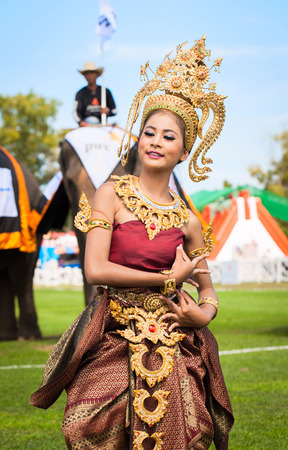 HUA HIN, THAILAND - AUGUST 28: Unidentified thai dancers dancing.  Elephant polo games during the 2013 King s Cup Elephant Polo match on August 28, 2013 at Suriyothai Camp in Hua Hin, Thailand.